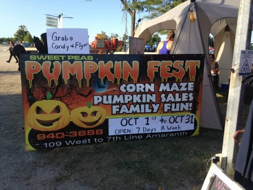 pumkin fest sign Shelburne recreation